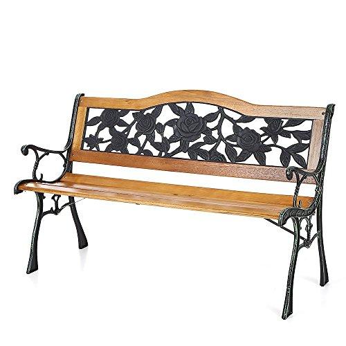 Ikayaa Cast Iron Wood Outdoor Patio Park Garden Bench Furniture Deck